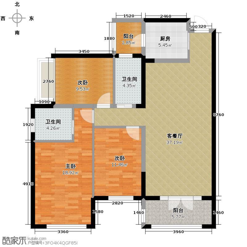 海棠湾124.74㎡一期F2户型3室1厅2卫1厨