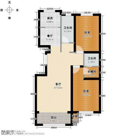 中意之尊2室2厅2卫0厨126.00㎡户型图