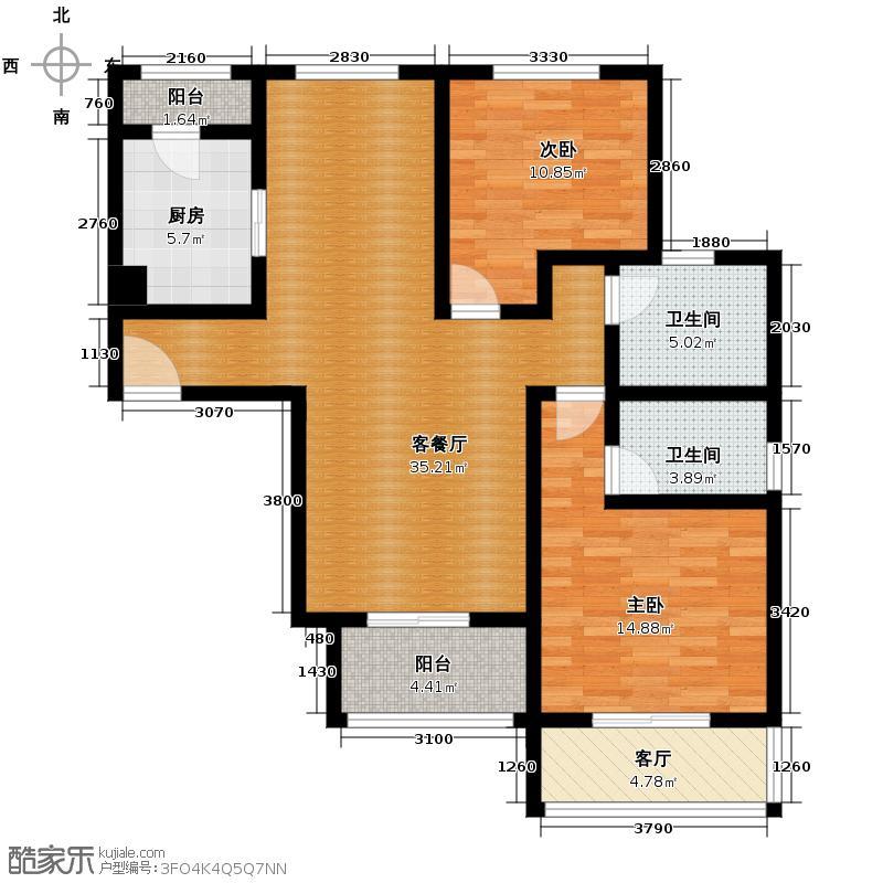 新厦水岸天成129.71㎡2、4-6号楼七户型2室2厅2卫1厨