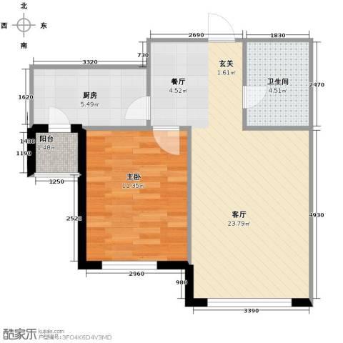 绿地国际花都1室1厅1卫1厨64.00㎡户型图
