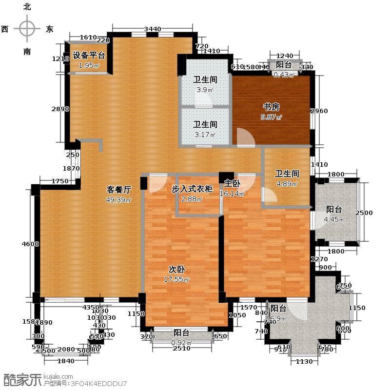 戈雅卡斯提亚136.66㎡户型3室1厅3卫