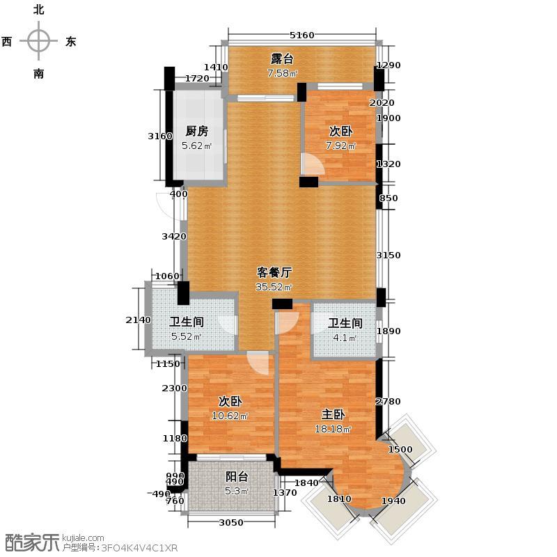 滨江万家星城125.00㎡二期6幢东边套奇数层M1户型3室1厅2卫1厨