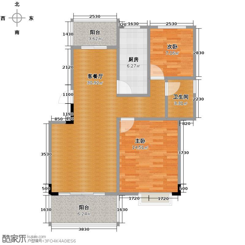 汇锦城80.34㎡鲁能三亚湾N1标准层户型2室1厅1卫1厨