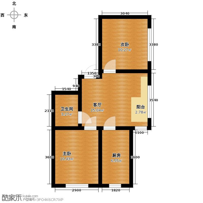宇光万和城68.63㎡3号楼户型2室1厅1卫