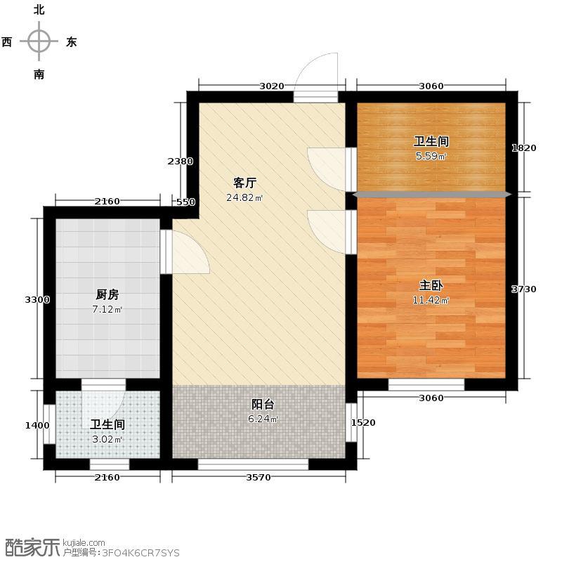 宇光万和城65.31㎡3号楼户型1室1厅1卫