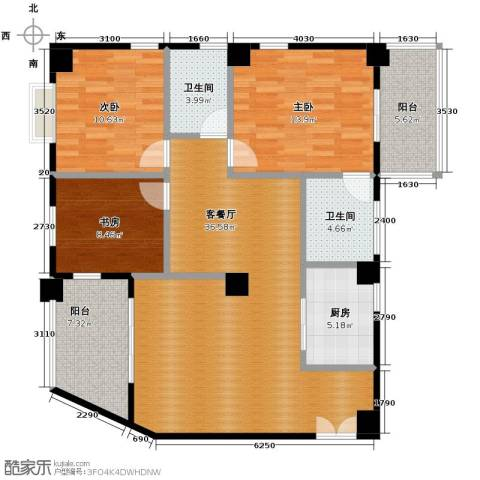 龙腾随园3室1厅2卫1厨125.00㎡户型图