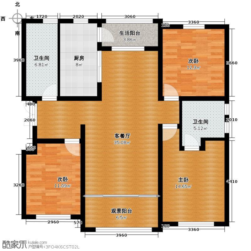 保利水韵长滩118.18㎡C2-2户型3室2厅2卫