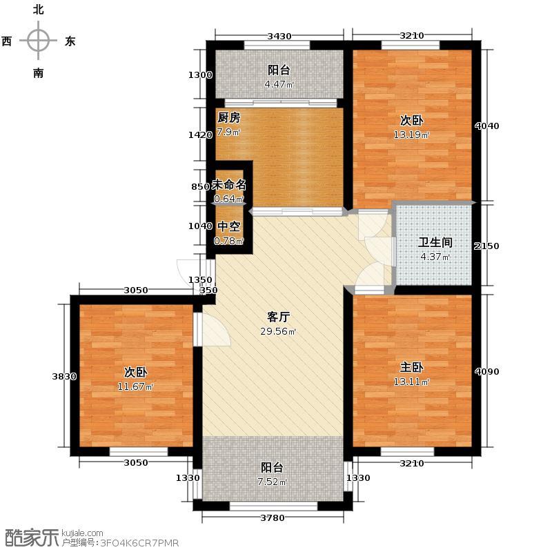 宇光万和城116.71㎡2号楼户型3室1厅1卫