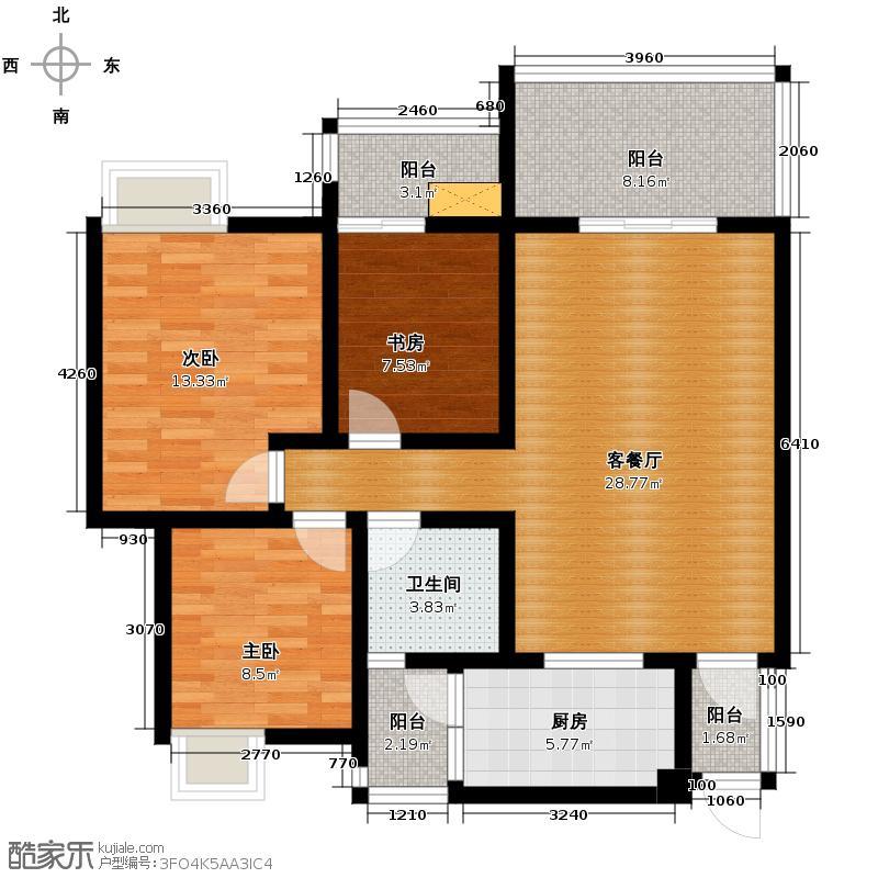 紫坪锦苑101.22㎡C户型3室1厅1卫1厨