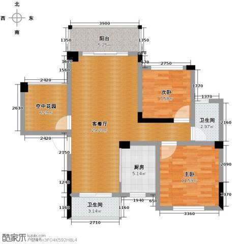 三景国际2室1厅2卫1厨94.00㎡户型图