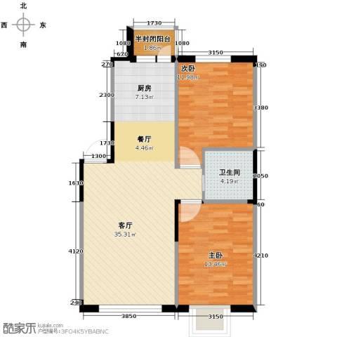 西湖一号2室2厅1卫0厨89.00㎡户型图