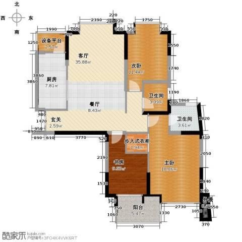 梦琴湾3室1厅2卫1厨113.52㎡户型图