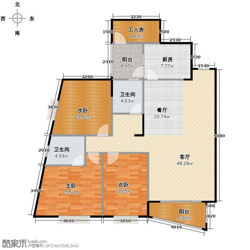 汇锦城140.44㎡东湖名居二期户型3室1厅2卫1厨