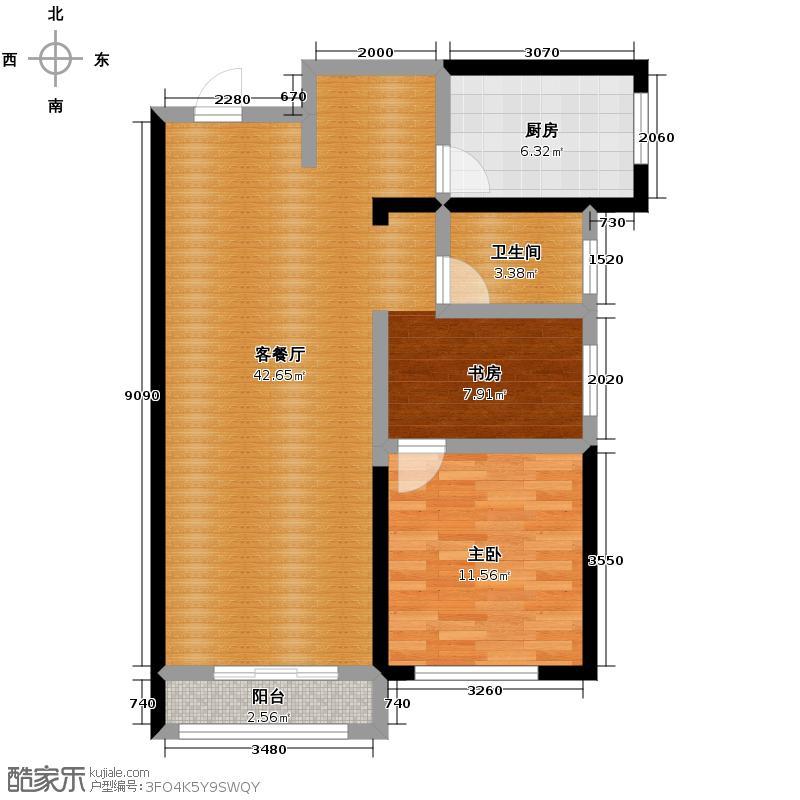 亚泰梧桐公馆81.00㎡C3户型1室1厅1卫1厨