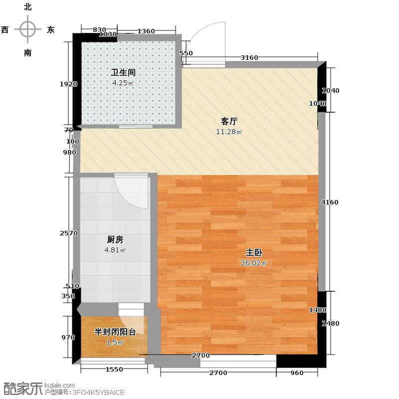 西湖一号48.00㎡I户型1室1厅1卫