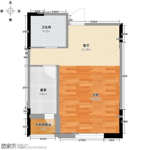 西湖一号1室1厅1卫0厨48.00㎡户型图