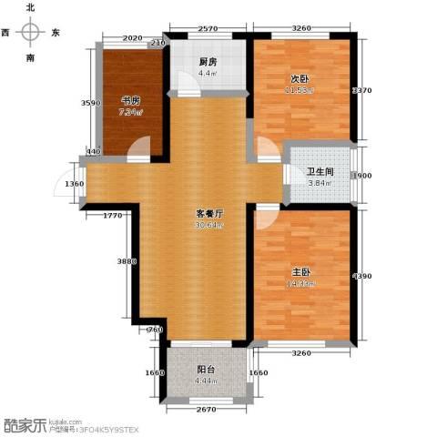 亚泰梧桐公馆3室1厅1卫1厨98.00㎡户型图