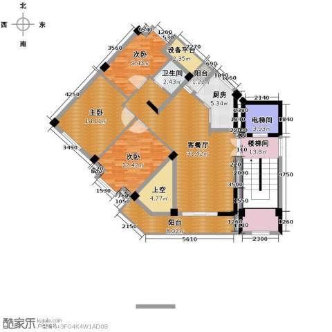 魅力之城3室1厅1卫1厨157.00㎡户型图