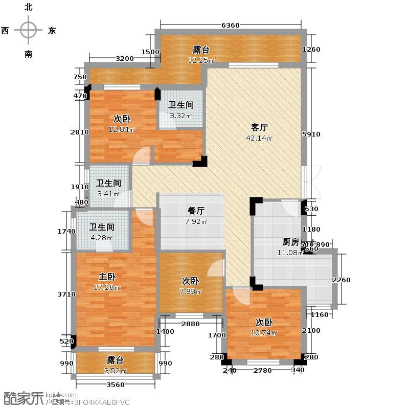 汇锦城124.00㎡D-3户型4室1厅3卫1厨