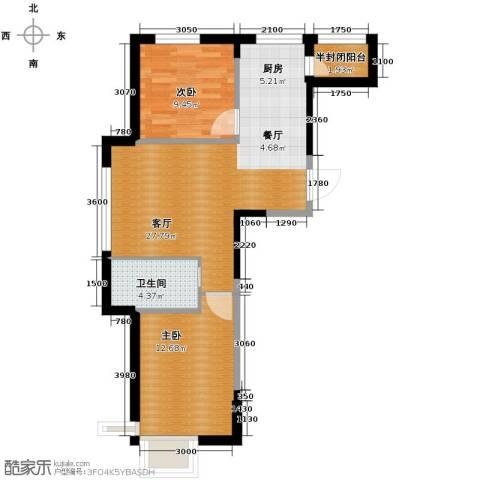 西湖一号2室1厅1卫0厨78.00㎡户型图