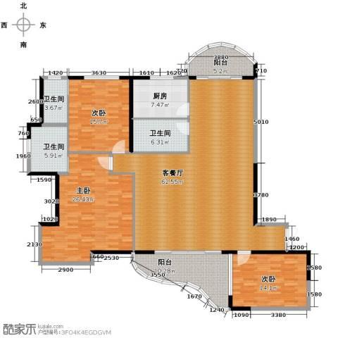 湘隆时代大公馆3室1厅3卫1厨157.60㎡户型图