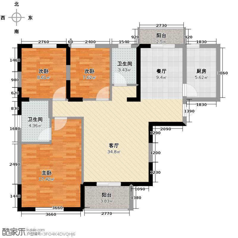 浩汉公园仕家124.56㎡C4户型3室1厅2卫1厨