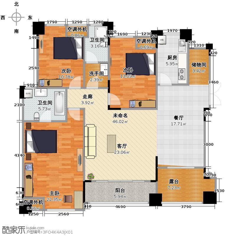 汇锦城136.81㎡洋房9栋A313103装修户型3室2卫1厨