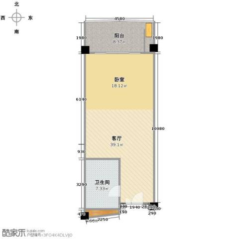 美锦熙海1厅1卫0厨70.00㎡户型图