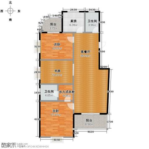 龙腾随园2室1厅2卫1厨136.00㎡户型图
