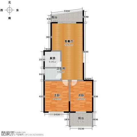 龙腾随园2室1厅1卫1厨99.00㎡户型图