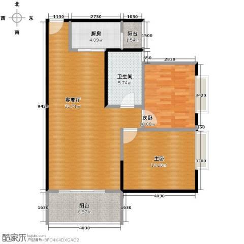 新浪国际公馆2室1厅1卫1厨100.00㎡户型图