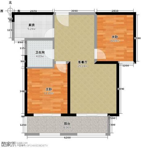 华地紫园2室2厅1卫0厨88.00㎡户型图