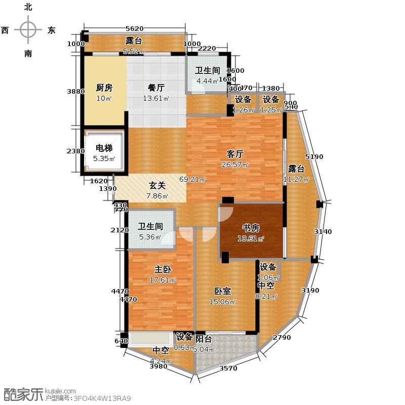 中凯东方红街138.66㎡四期3-F偶数层户型2室2卫