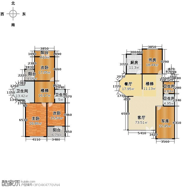 隐龙山庄265.55㎡联排P8-A户型4室1厅4卫1厨