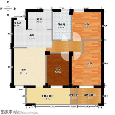 九洲芳园3室0厅1卫1厨89.00㎡户型图