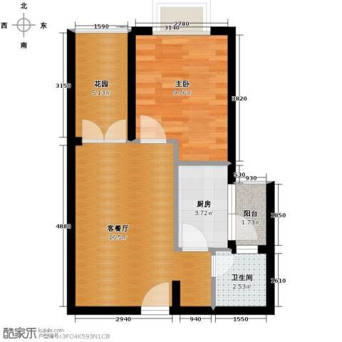 凯旋帝景1室1厅1卫1厨43.00㎡户型图