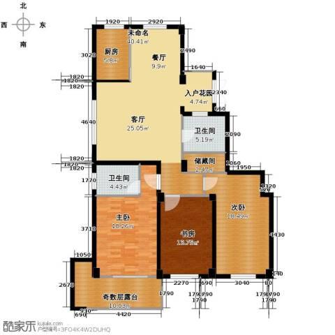 九洲芳园3室0厅2卫1厨134.00㎡户型图