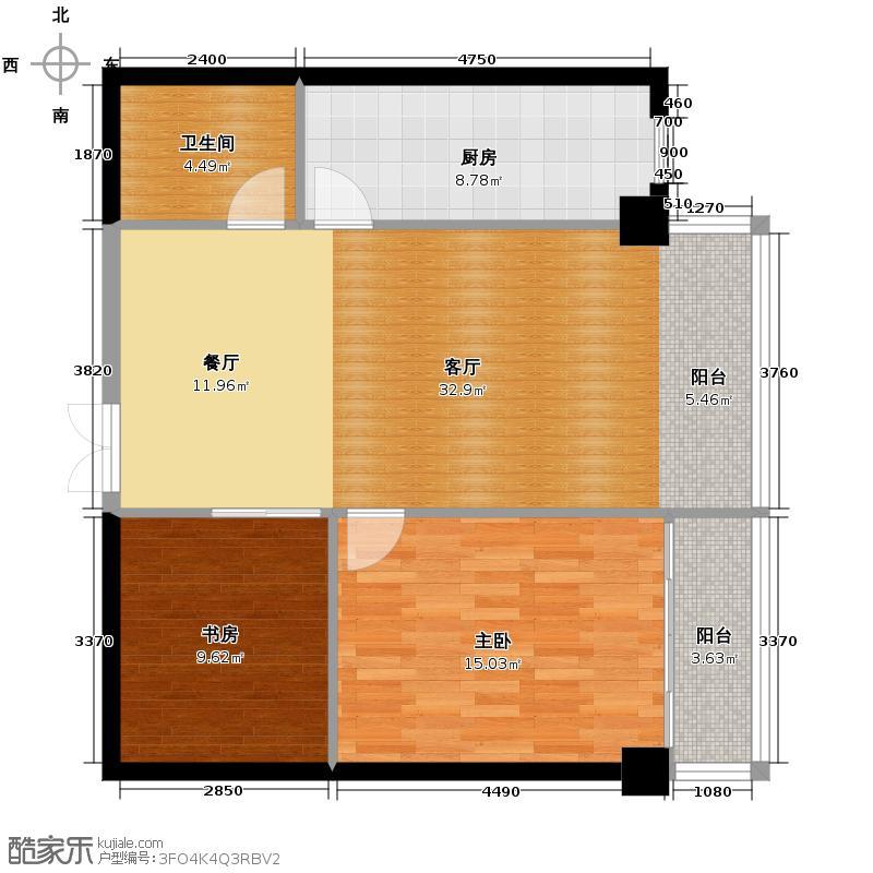 芙瑞双子国际101.34㎡A3户型2室1厅1卫1厨