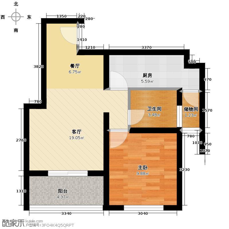 新厦水岸天成69.36㎡2-6号楼四户型1室1厅1卫1厨