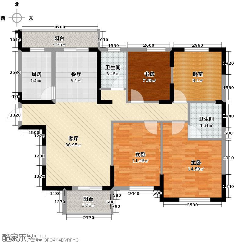 浩汉公园仕家142.36㎡D1户型3室1厅2卫1厨