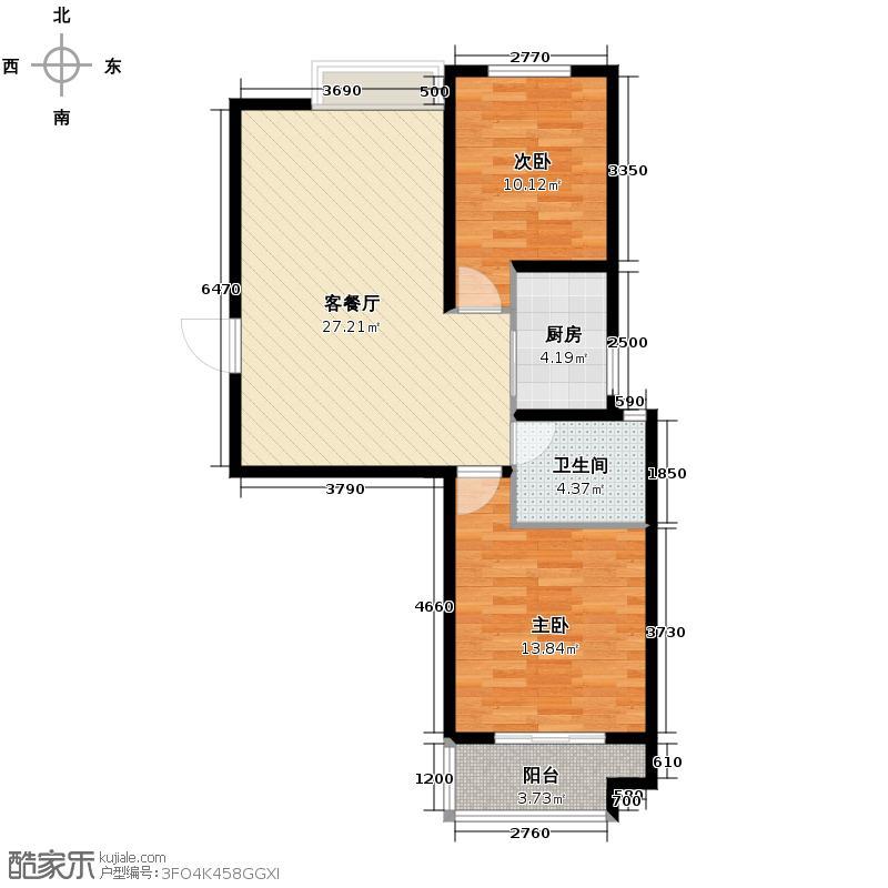 汇锦城95.07㎡良城国际2期御景4-D户型2室1厅1卫1厨