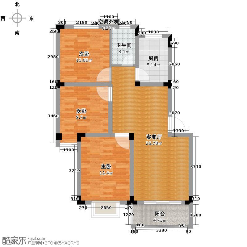 宝翠园88.50㎡C户型3室2厅1卫