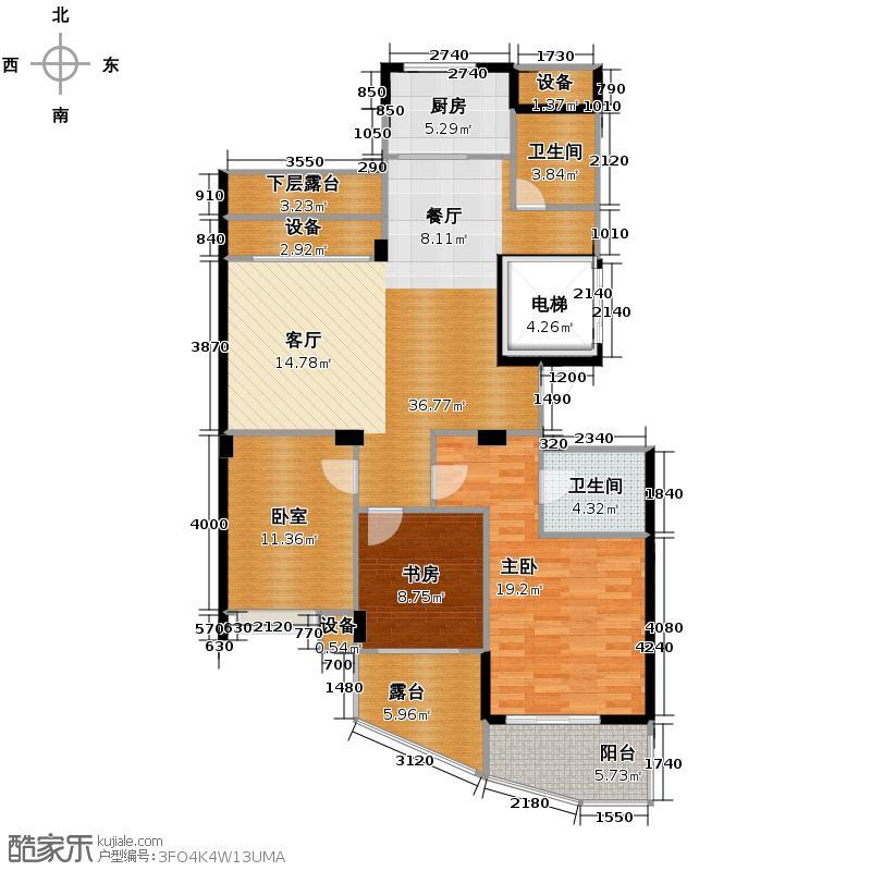 中凯东方红街131.77㎡四期3-D奇数层户型2室2卫1厨