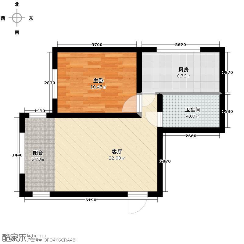 宇光万和城62.97㎡1号楼户型1室1厅1卫