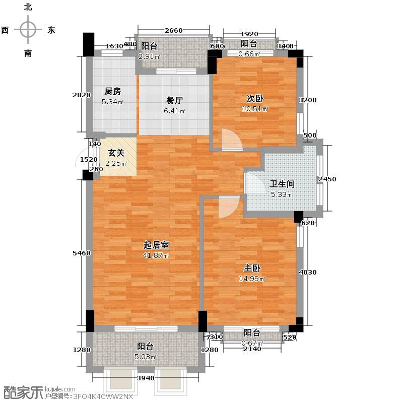 戈雅公寓92.53㎡户型2室1卫