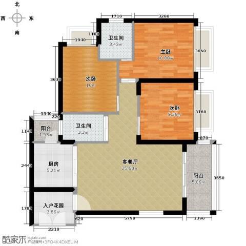 新浪国际公馆3室1厅2卫1厨102.00㎡户型图