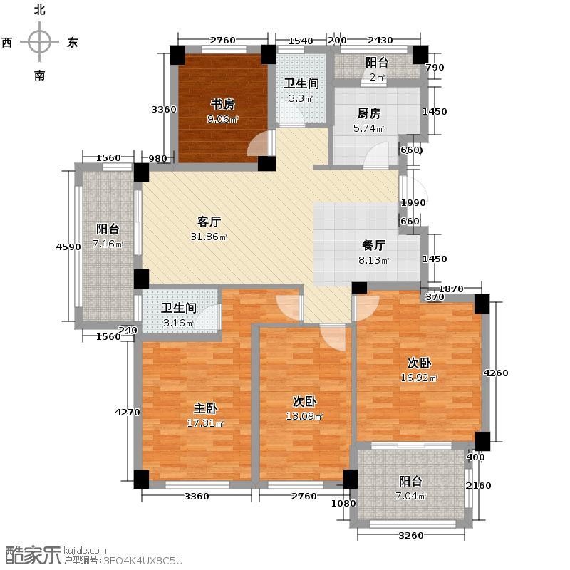 石榴派148.06㎡B1户型4室1厅2卫1厨