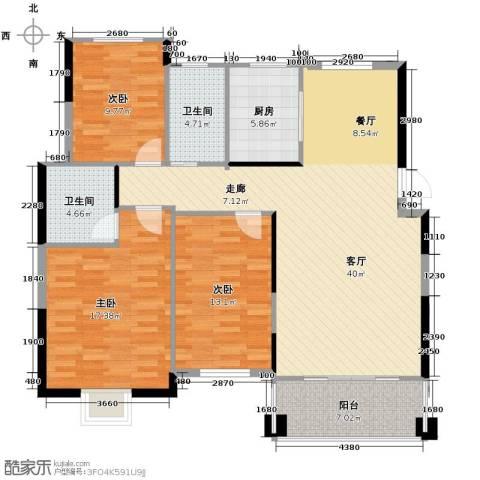 博雅湘水湾3室1厅2卫1厨120.00㎡户型图