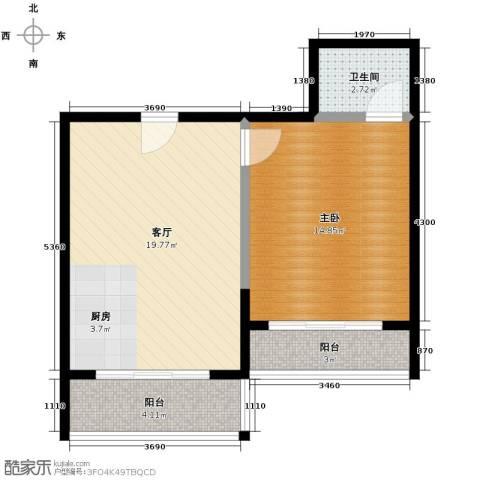 以勒山水国际养生社区1室1厅1卫0厨52.00㎡户型图