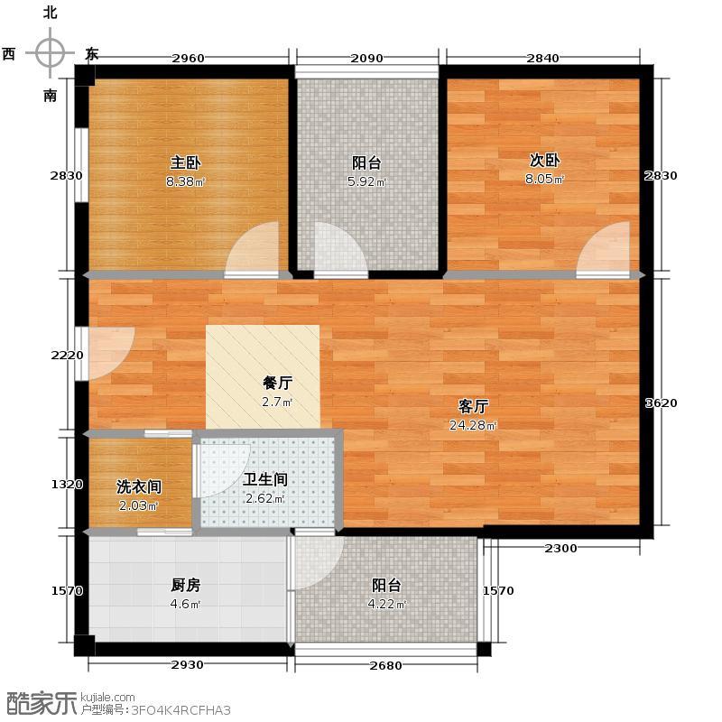 龙泉天立广场75.35㎡电梯2型户型2室1厅1卫1厨